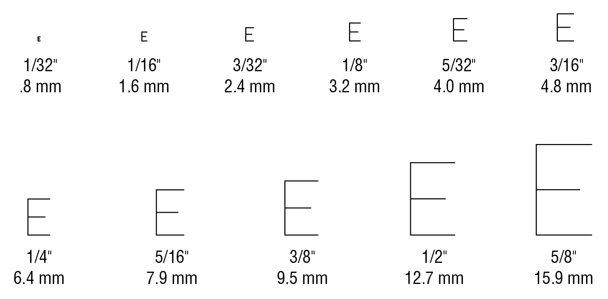 stamp instructions sizes